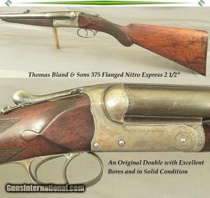 "THOMAS BLAND 375 FLANGED N. E. 2 1/2"" SXS DOUBLE RIFLE"