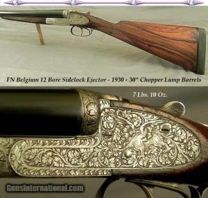 "FN BELGIUM 12 SIDELOCK- 98% ENGRAVING with GROTESQUE GARGOYLES or DRAGONS- 1930- 30"" EJECT CHOPPER LUMP"