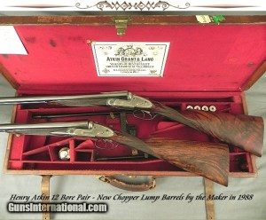 ATKIN 12 SIDELOCK PAIR- NEW CHOPPER LUMP Bbls. in 1988 by the MAKER- NEW BUTTSTOCKS by the MAKER- ALL LONDON