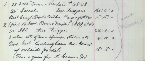 Three of Graves's Boss O/Us, as noted in a page in Abercrombie & Fitch's order books from 1922.