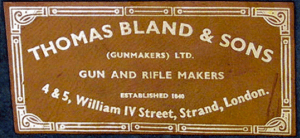 Thomas Bland, Gunmakers, Strand, London