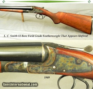 """L. C. SMITH- 12 BORE THAT REMAINS as NEW & APPEARS UNFIRED- 98% ORIG COND- 1949- 28"""" Bbls.- 99% ORIG CASE COLORS"""