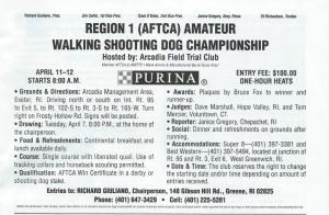 Region #1 Amateur Walking Shooting Dog Championship, 4/11/2015