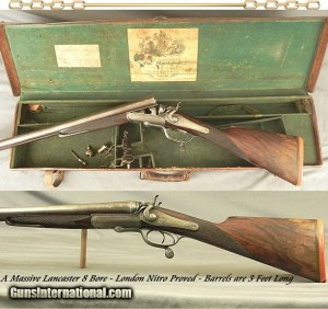 "LANCASTER 8 BORE UNDERLEVER HAMMER LONDON NITRO PROVED- 13 Lbs. 12 Oz.- 36"" DAMASCUS NP Bbls.- 1882- TOTALLY ORIGINAL PIECE"