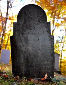 A real old tombstone -- maybe original.