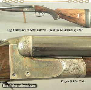 "FRANCOTTE 470 N E- 1927- 26"" CHOPPER LUMP EXTRACTOR Bbls.- THE BORES ARE EXC PLUS- PROPER at 10 Lbs. 15 Oz.- ORIG FINISH- SOLID RIFLE"