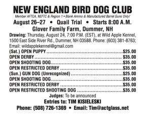 New England Bird Dog Club, August, 2017, field trial