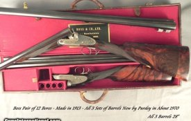 """BOSS & Co.12 BORE PAIR- 3 SETS of Bbls. by PURDEY ABOUT 1970- ORIG. BOSS Bbls. LOST in SHIPMENT- ALL Bbls. ALMOST as NEW- ALL 28"""" & 2 3/4"""":"""