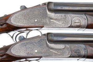 E.J. CHURCHILL PREMIER QUALITY OVER UNDER DOUBLE BARREL SHOTGUNS PAIR