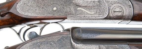 E.J. CHURCHILL PREMIER QUALITY OVER UNDER DOUBLE BARREL SHOTGUNS PAIR