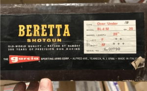 "Great gun alert: Beretta BL-4M o/u old original box 3"" 20GA"