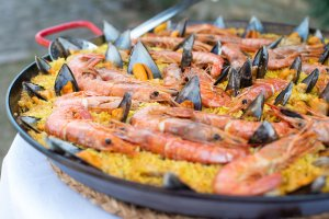 Delicious paella made for the team after a day of shooting.