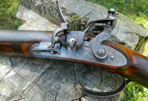 Westley Richards 14-bore Flintlock Shotgun with extra set of .54 cal. hollow-point bullet barrels, ca.1841