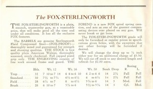 Sterlingworth page from a 1930 Fox Shotgun catalog