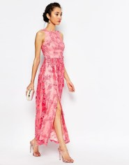 Chi Chi London Petite Embroidered Halter Neck Maxi Dress
