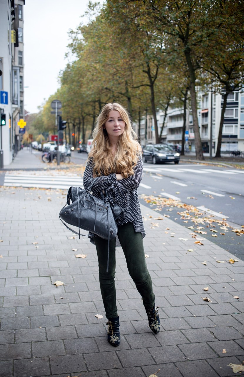 Dogs and Dresses Cold Shoulder Top and Suede Khaki Leather Pants with Chloé Susanna Boots