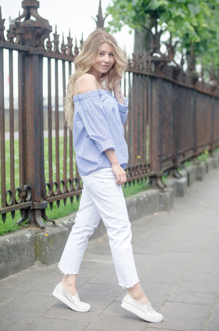 Zara Off Shoulder Top and White Jeans-9