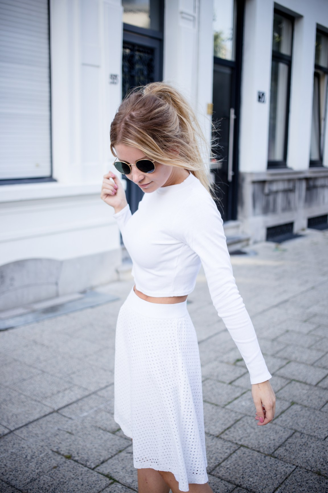 Long sleeved crop top and skater skirt-15