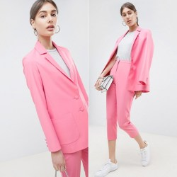 shopping pink suit
