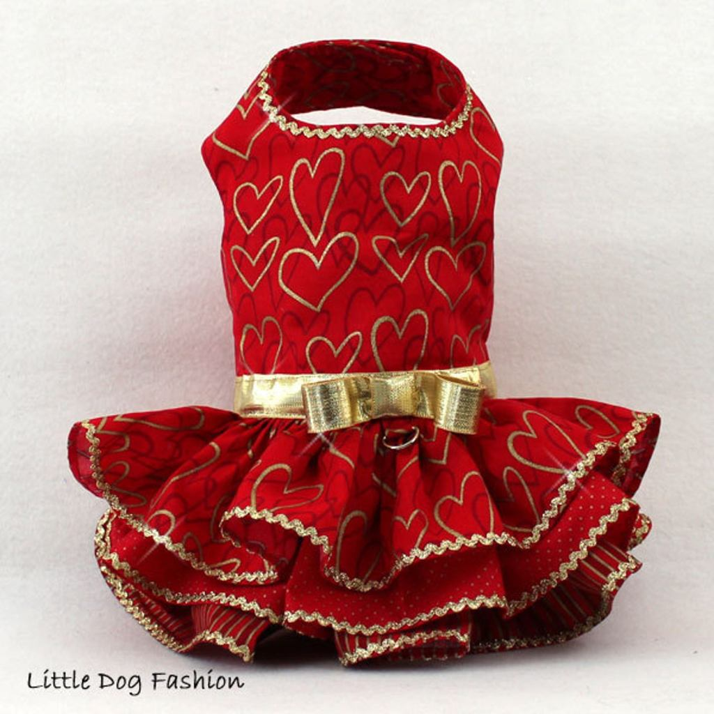 red dog dress with ruffles and gold trip