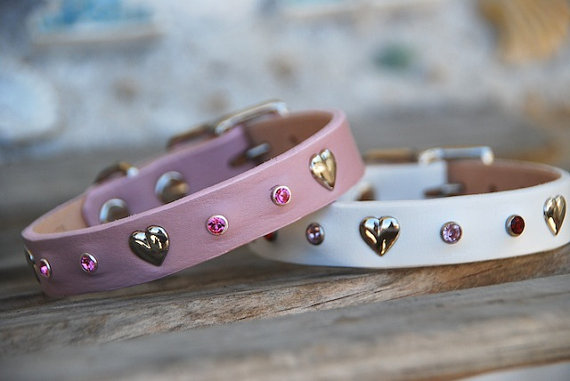pink and white collars with hearts