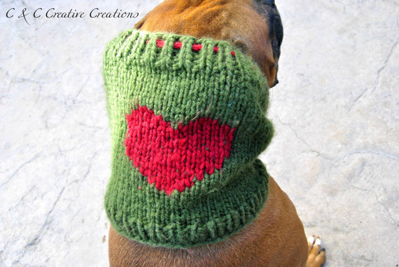 knitted dog snood with heart