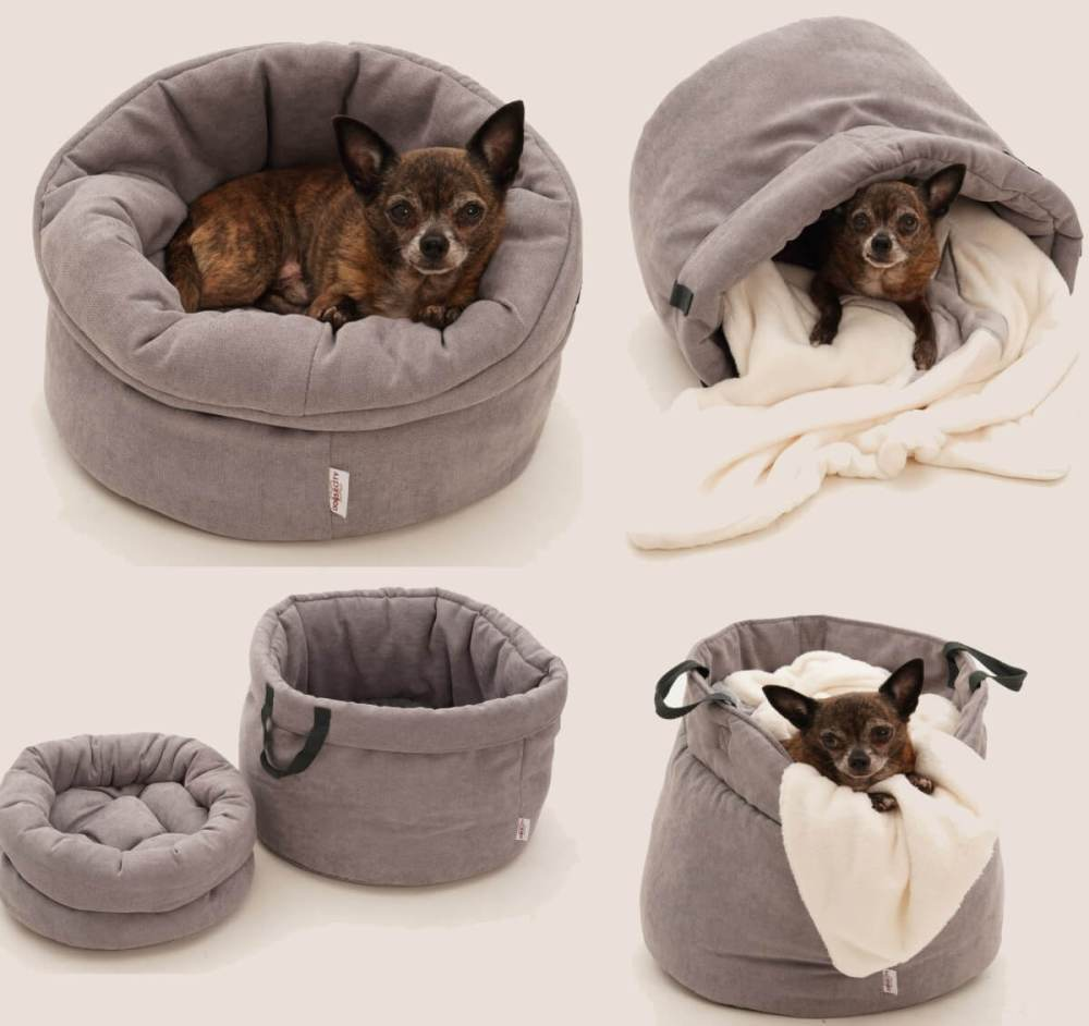 LITTLE BASKET DOG BAG SHOPPER & CUDDLY COVE ...all in one...   DOGS in the CITY