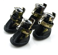 Gold Camo PU leather Dog Boots winter Dog Shoes ...