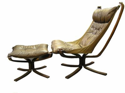 High Back Falcon Chair and Ottoman
