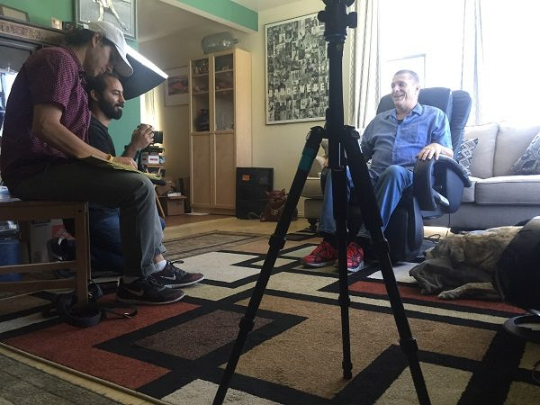 Frankie watches as Jim films a promo piece with folks from PAWS/LA in the hopes of helping more people that need assistance. (Photo by Wendy Newell)