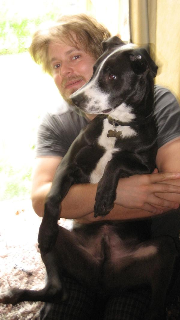 Tim Heidecker with his rescued Pit Bull mix, Pete. (Photo courtesy Pitch Perfect PR)
