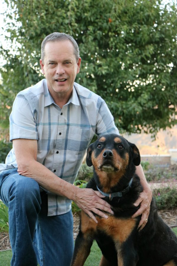 Dr. Beardsley and his Rottweiler, Cooper, who has also been treated with LTCI for his osteoarthritis. (Photo courtesy Dr. Beardsley)