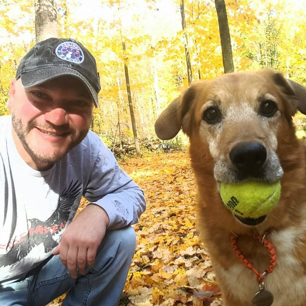 Jason and Flash now. Her ball drive made her a candidate for police work 11 years ago and she still loves to retrieve. (Photo courtesy Project K-9 Hero)