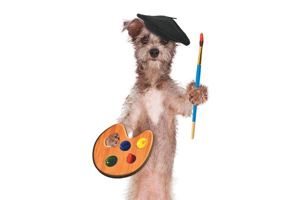 An artist dog with a painter's palette and a beret.