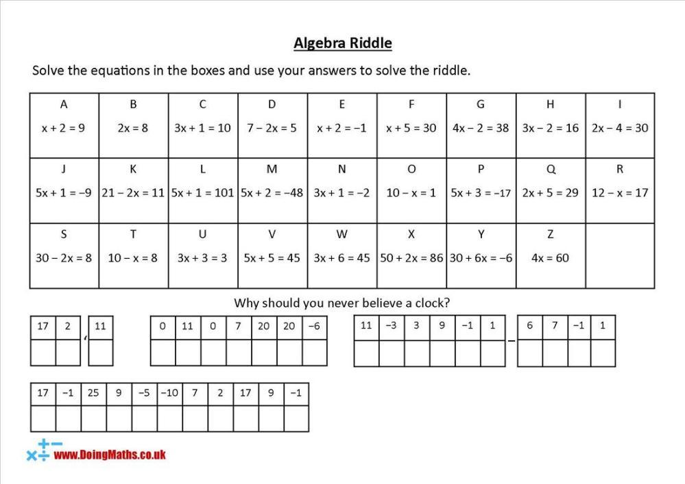 medium resolution of Algebraic equations - Free worksheets