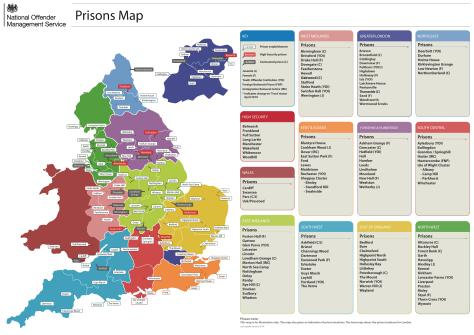 Map supplied by the Ministry of Justice
