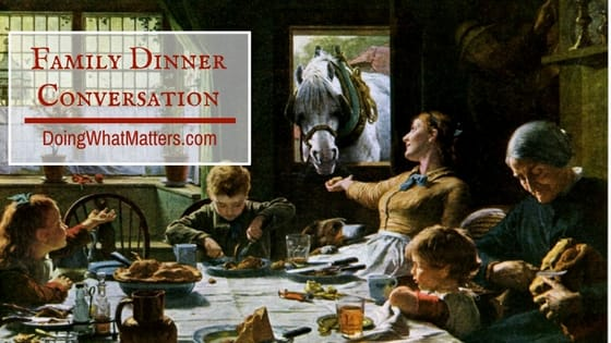 Family dinner conversation can create many pleasant memories.