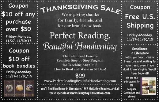 2015 Thanksgiving Sale for Excellence in Literature and more!