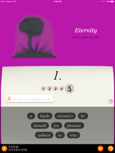 Screenshot from the Penguin Poetry app; the first screen for William Blake's Eternity.