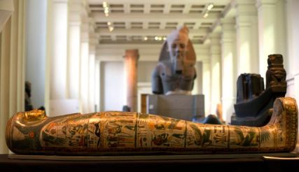 The Mummy of Tamut, a temple singer around 900 BC, is shown during a press conference at the British Museum in London, April 9, 2014.