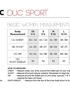 Duc women   tennis apparel size chart also charts doittennis rh