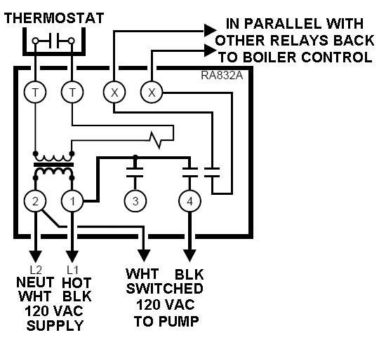 Relay Switch Wiring Diagram Honeywell R8222b. Honeywell