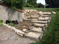 Replacing rotten wood retaining wall and steps with brick ...