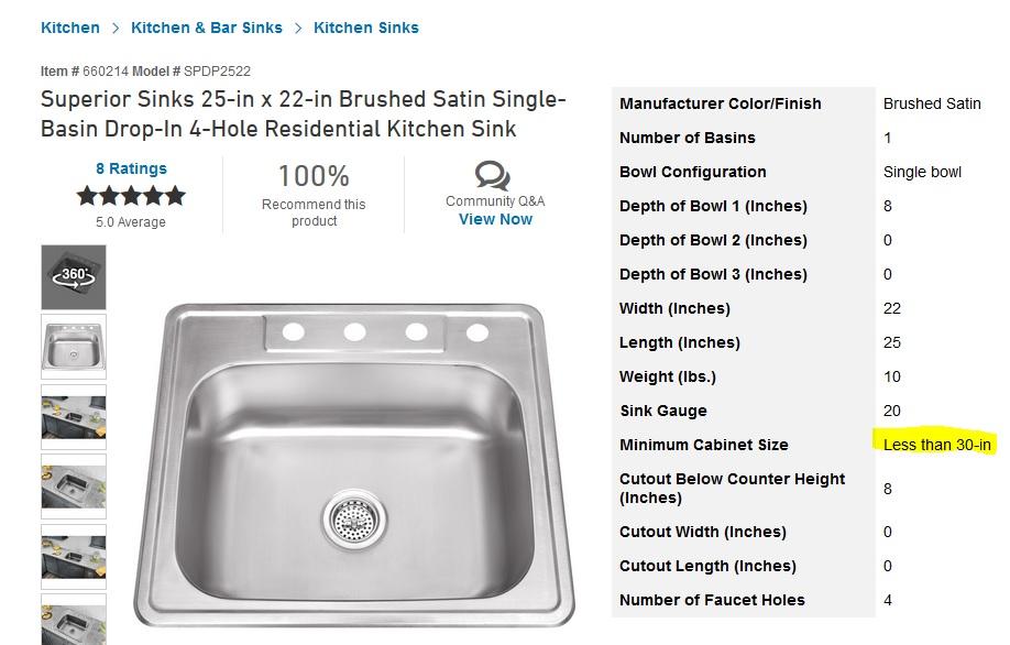 kitchen cabinet size and kitchen sink