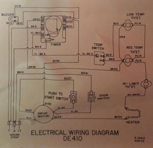 Maytag DE410 Dryer: no heat and wiring problems