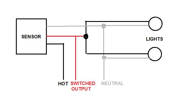 pir sensor wiring diagram for 4 way flat trailer connector installing 2 motion sensors together doityourself com community since the output line red is relay controlled so in looking at you need three wires between units