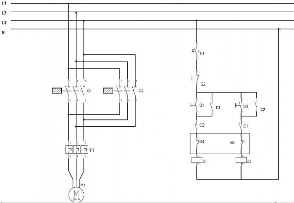 Reversing a 3 phase asynchronous motor using limit