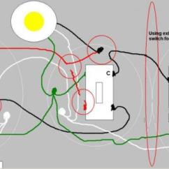 3 Way Outlet Single Line Diagram Of Power Distribution Adding A Switch To Existing Light The Red Circles Point Out Some Changes From Original And Do Not Stand For Additional Junction Boxes In Actual Project Omit What Are