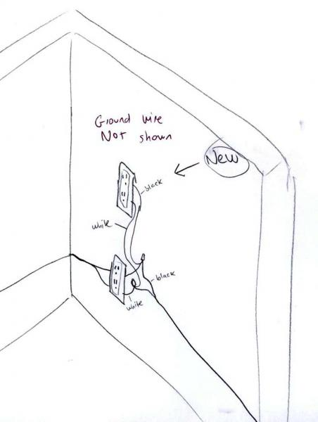 wiring a outlet from an outlet