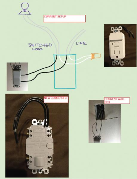 gfci switch outlet combo diagram tao 150 atv wiring need help with a switch/outlet into current light - doityourself.com ...